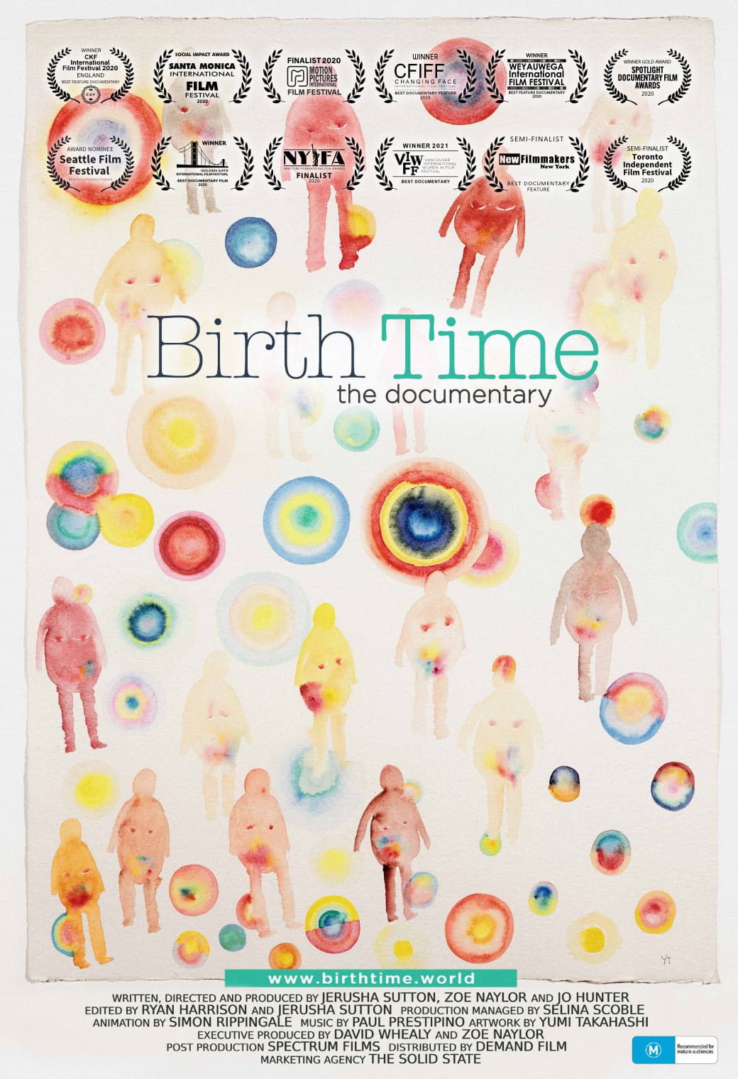 Birth Time poster with colourful illustrations of pregnant figures and spots.